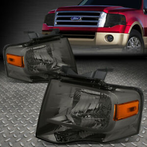 For 07 14 Ford Expedition Smoked Housing Amber Corner Headlight Replacement Lamp