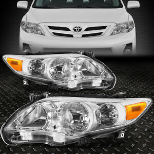 For 2011 2013 Toyota Corolla Pair Chrome Housing Amber Corner Headlight lamp Set
