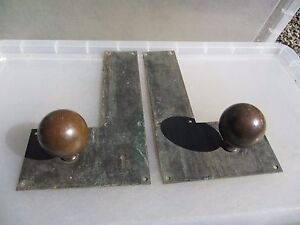 Antique Bronze Door Knobs Handles Finger Push Plates Vintage Old Victorian