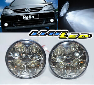 2x Universal Car 12v 4led Drl Round Daytime Running Light Driving Fog Blubs Kit