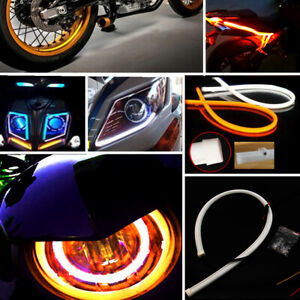 2x Switchback Car Drl Led Light Strip Tube Switch Back Turn Signal White Amber