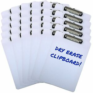 Clipboard Dry Erase Surface 9 X 12 5 Letter Size Low Profile Clip Whiteboard