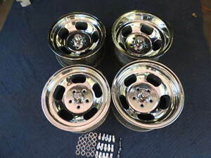 Vintage Set 15x7 8 Polished Us Indy Style Mags 5 On 4 1 2 Ford Mopar Dodge
