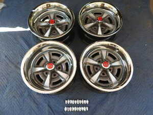 Set 4 Pontiac Rally 11 15x7 15x8 Wide Nice Repro Wheels New Rings Red Caps