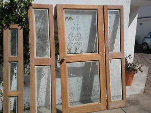 Antique Front Door Solid Wood Burnished Glass Excelent Condition 50 Years Old