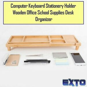 Computer Keyboard Stationery Holder Wooden Office School Supplies Desk Organize