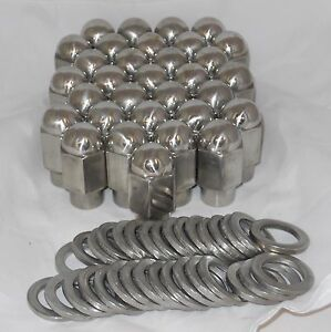 32 Pieces Set Stainless Steel Eagle Dually Wheel Rim Lug Nut Mag Shank 14mm 1 50