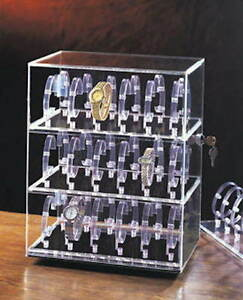 36 Watch Display Case Cabinet Locks Revolves Plexiglass Tabletop Table Top
