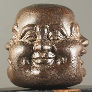 Agalloch Eaglewood Hand Carved Buddha Head Statue Of Pleasure Anger Sorrow Joy