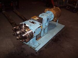 Waukesha 2 1 2 Stainless Positive Displacement Pump 7 5 Hp 90 Gpm Model 060