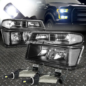 Black Headlight clear Corner 6000k White Led System For 04 12 Colorado canyon