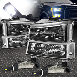 Black Housing Headlight Clear Corner 6000k White Led System For 03 06 Silverado