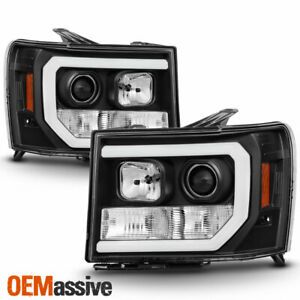 For 07 13 Gmc Sierra 1500 2500hd 3500hd Black Drl Led Tube Projector Headlights