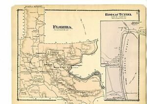 1876 Map Of Florida Massachusetts Adams From Beers Atlas W Family Names