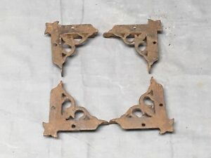 4 Vtg Cast Iron Victorian Screen Door Corner Brackets Support Hardware 389 17e