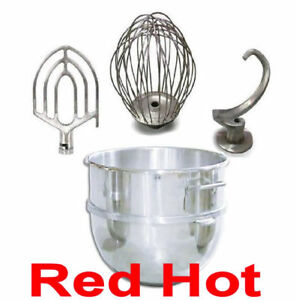 60 Qt Attachment Package Bowl Whip Flat Beater Hook Fits Hobart H600 Mixer
