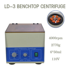 Hot Ld 3 Electric Benchtop Centrifuge Lab Medical Practice 4000rpm 6 50ml