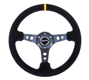 Nrg Deep Dish Series Steering Wheel 350mm Suede W Yellow Mark Rst 006s y