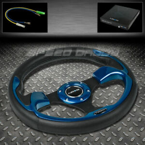Nrg Reinforced 320mm Black Pvc Leather Blue Accent Trim Inserts Steering Wheel