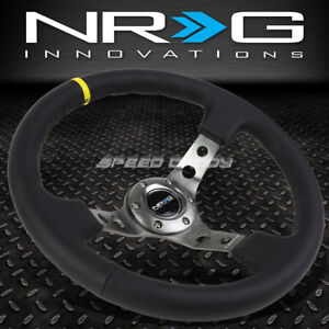 Nrg Reinforced 350mm 3 Deep Dish Leather W Yellow Center Stripe Steering Wheel