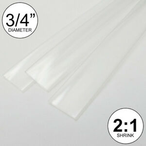 3 4 Id Clear Heat Shrink Tube 2 1 Ratio 0 75 3x8 2 Ft Inch feet to 20mm