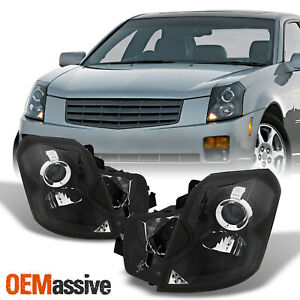 Fit 2003 2007 Cadillac Cts Halogen Type Headlights Black Headlamps Replacement