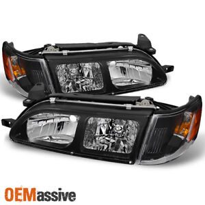Fits 93 97 Toyota Corolla Black Headlights Amber Corner Signal Lamps 4pcs Set