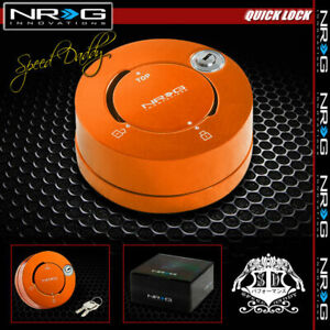 Nrg Thin Steering Wheel Short 6 hole Quick Release Lock W key Adaptor Kit Orange