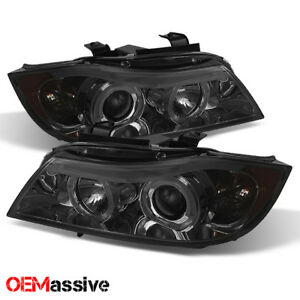 Eye Lid Fits 06 08 Bmw E90 3 Series Sedan Smoked Halo Led Projector Headlights
