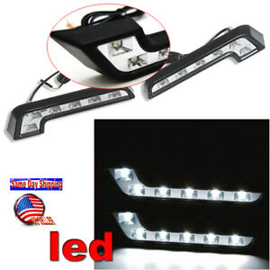 2x Mercedes Benz Style Drl Daytime Running 6 Led Lights Kit Chrome Fog Light