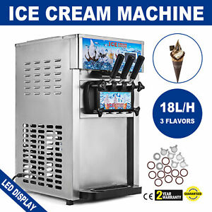 3 Flavor Soft Ice Cream Maker Frozen Yogurt Machine 18l h Lcd Display