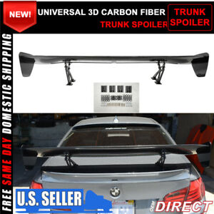 56 Inch Universal Fit 3d Carbon Fiber Cf Racing Gt Style Trunk Spoiler Rear Wing