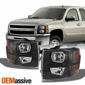 Fit 07 13 Chevy Silverado Replacement Black Headlights Headlamps L r