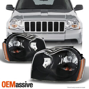Fit 2005 2007 Jeep Grand Cherokee Black Headlights Replacement Pair Left right