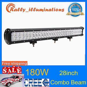28inch 180w Cree Led Work Light Bar Flood Spot Truck Offroad Ute 4wd 12v 24v Rly