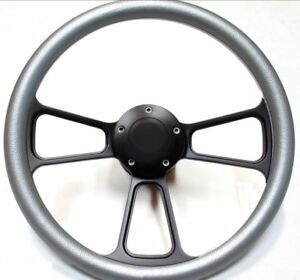Ford Hot Rod Street Rod Steering Wheel Kit Titanium black Ididit Flaming River