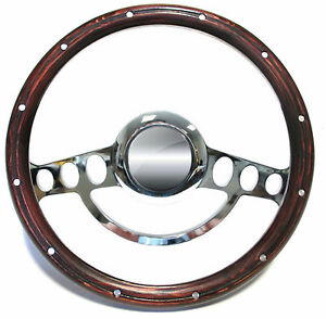 Hot Rod Street Rod Rat Rod Billet Mahogany Steering Wheel 14 Nine Hole