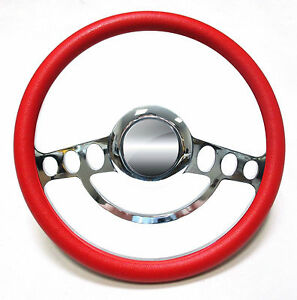Hot Rod Street Rod Rat Rod Billet Red Steering Wheel 4 Flaming River Column