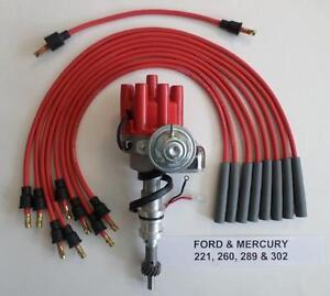 Ford 221 260 289 302 Red Small Female Cap Hei Distributor Spark Plug Wires