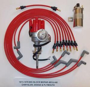 Mopar 440 1973 78 Red Small Female Cap Hei Distributor 45k Coil spark Plug Wires