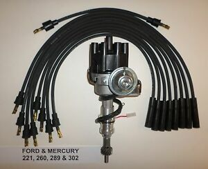 Ford 221 260 289 302 Black Small Female Cap Hei Distributor Spark Plug Wires
