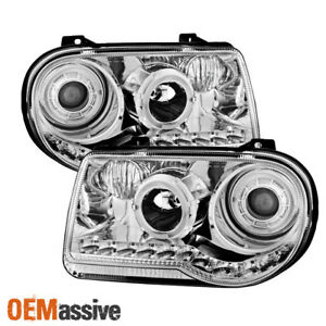 For 05 10 Chrysler 300 C Model Special Chrome Led Dual Halo Projector Headlights