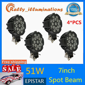 4x7inch 51w Epistar Led Light Driving Jeep 4x4 Spot Beam Offroad Truck Round Blk