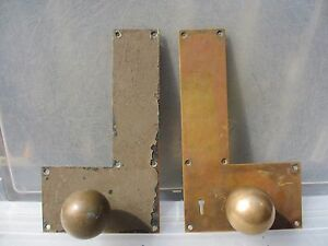 Victorian Bronze Door Handles Knobs Finger Push Plates Antique Old Vintage Brass