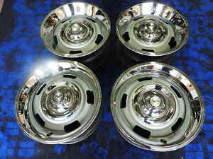 Chevy Rally Wheels Set Of 4 Gm 15x7 Fw Code Real Nice Camaro Nova Disc Brake Cap