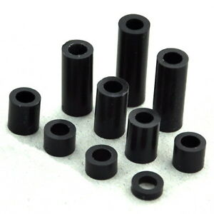 Black Nylon Round Spacer Not threaded For M3 M4 Screw L 2mm 30mm Selectable