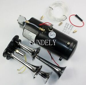Quad 4 Air Train 24v Kit Semi Truck Car Boat Chrome Horns W 150 Psi Compressor