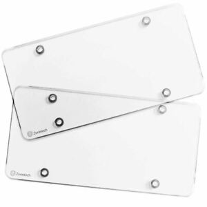 Zone Tech 2x Clear Flat License Plate Cover Shield Tinted Plastic Tag Protector
