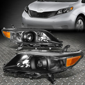 For 11 17 Toyota Sienna Black Housing Amber Corner Projector Headlight Headlamp