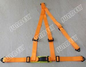 Sundely Orange Car Vehicle 3 Point Racing Safety Harness Strap Seat Belt Bolt In